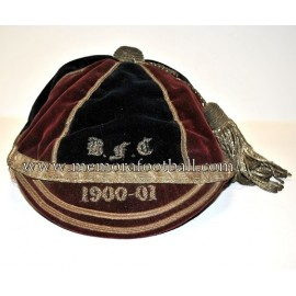 "1900-1901 ""Burnley.F.C"" (?)  Velvet Football Cap"