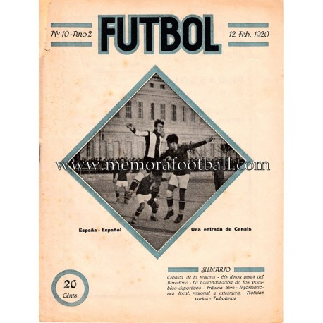 """FUTBOL""  Spanish Magazine, February 12, 1920"