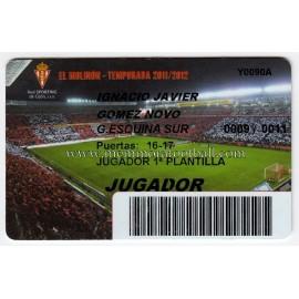 Carnet de Socio de NACHO NOVO Sporting de Gijón 2011-2012