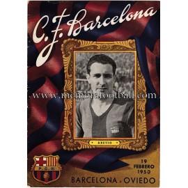 Programa CF Barcelona vs Real Oviedo 19-02-1950