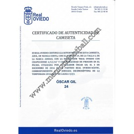 """ÓSCAR GIL"" Real Oviedo vs Nastic 04-12-2016 match worn shirt"