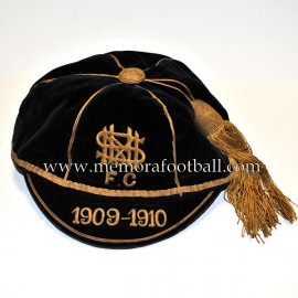 1909-10 Black Velvet & Gold N.M.S. FC football cap