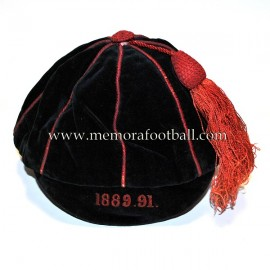 1889-1891 Victorian velvet black and red sports cap