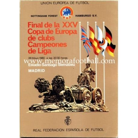Programa Oficial Final Copa de Europa 1980 Nottinghan Forest vs Hamburg S.V.