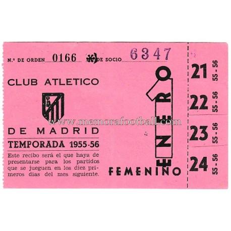 Recibo de socio Atlético de Madrid 1955-1956