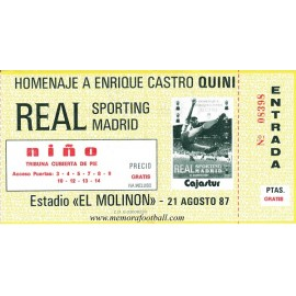 "Enrique Castro ""QUINI"" Testimonial Match ticket 21-08-1987"