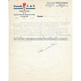 GRANADA C.F. carta firmada por el mítico Paco Brú (1941)