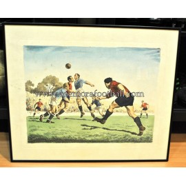 Litografía enmarcada con escena de fútbol. España 1950s