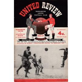 Programa oficial del partido Manchester United v Atlético de Bilbao 16-01-1957