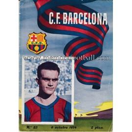 Programa CF Barcelona vs Atlético de Madrid 09-10-1954
