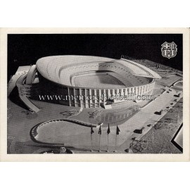 Nou Camp Stadium (FC Barcelona) scale model 1954 postcard