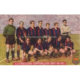 CF Barcelona 1947-48-49 Champion of the Spanish Football League postcard