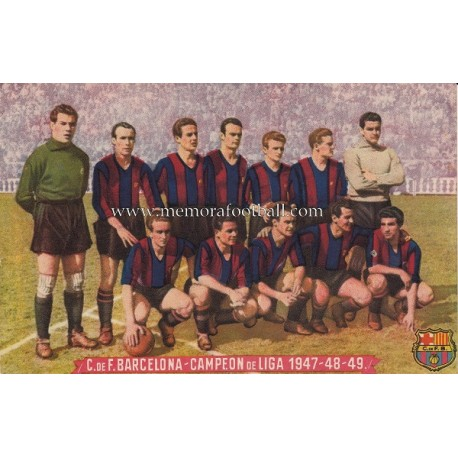 Tajeta postal del CF Barcelona campeón de liga 1947-48-49