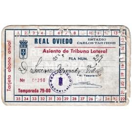 Tarjeta anual de socio del Real Oviedo, temporada 1979-80