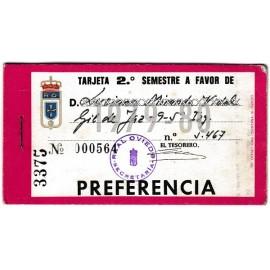 Tarjeta Semestral de socio del Real Oviedo, temporada 1979-80