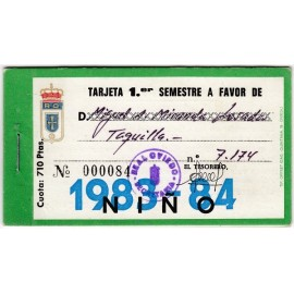 Tarjeta Semestral de socio del Real Oviedo, temporada 1983-84