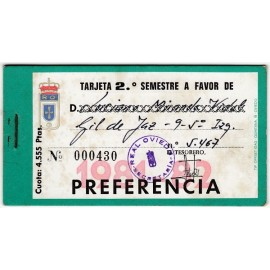 Tarjeta Semestral de socio del Real Oviedo, temporada 1981-82