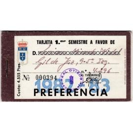 Tarjeta Semestral de socio del Real Oviedo, temporada 1982-83