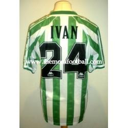 """""""IVÁN PÉREZ"""" Real Betis Balompié 1997/1998 Kappa Primera Equipaciónm manga corta, usada en pretemporada o torneo de verano"""