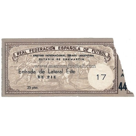 Entrada del partido España v Argentina 07-12-1952