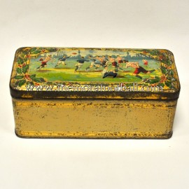 Victorian tin box featuring rugby design, circa 1900