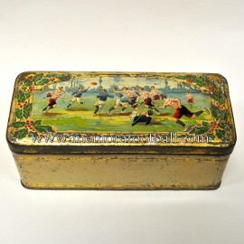Victorian tin box featuring rugby design, circa 1900