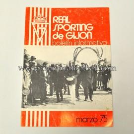 Boletín Informativo Real Sporting de Gijón vs Real Sociedad, marzo 1975