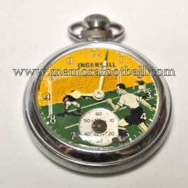 Reloj de bolsillo INGERSOLL con escena de fútbol 1950s