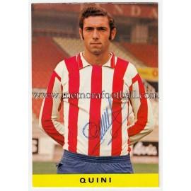 """Tarjeta postal firmada de """"QUINI"""" Sporting de Gijón 1972"""