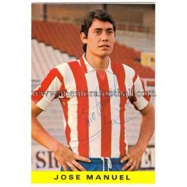 """Tarjeta postal firmada de """"JOSÉ MANUEL"""" Sporting de Gijón 1972"""