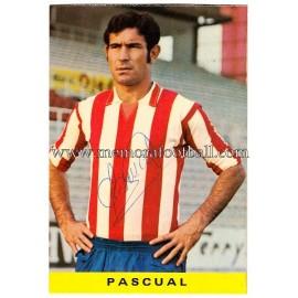 "Tarjeta postal firmada de ""PASCUAL"" Sporting de Gijón 1972"