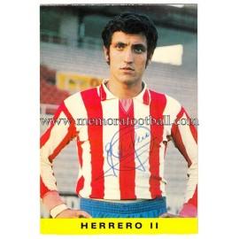 """Tarjeta postal firmada de """"HERRERO II"""" Sporting de Gijón 1972"""