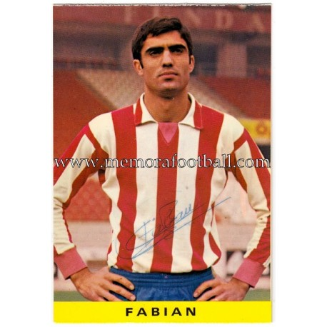 "Tarjeta postal firmada de ""FABIÁN"" Sporting de Gijón 1972"