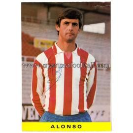 "Tarjeta postal firmada de ""ALONSO"" Sporting de Gijón 1972"