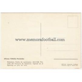 "Tarjeta postal firmada de ""FANJUL"" Sporting de Gijón 1972"