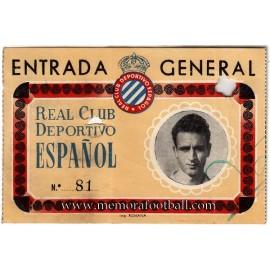 1970s RCD Espanyol Ticket