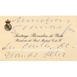 Real Madrid CF visiting card. Handwritten and signed by Santiago Bernabeu 1950-1960