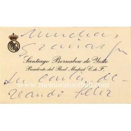 Tarjeta de visita manuscrita de Santiago Bernabeu, presidente del Real Madrid CF, 1950-60