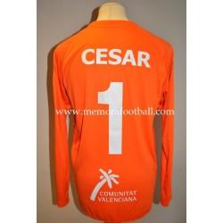 """""""CÉSAR"""" nº1 portero Villareal CF LFP 2011-2012 UEFA camiseta emitida para partido"""