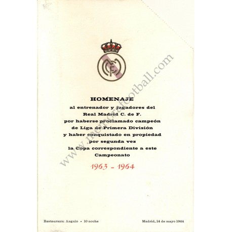 Real Madrid CF - Dinner tribute 14-05-1964