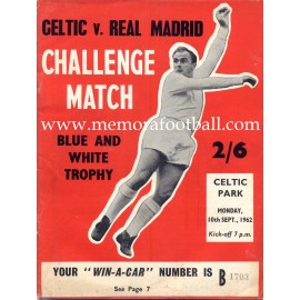 Celtic vs Real Madrid 10/09/1962 programa