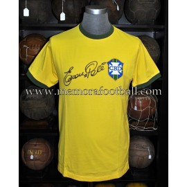 """PELE"" signed Brazil 1970 World Cup retro jersey"