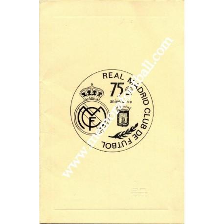 Real Madrid 75th Anniversary Dinner Menu