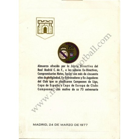Real Madrid 75th Anniversary Lunch Menu