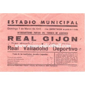Octavilla del partido Real Gijón vs Real Valladolid, 1943