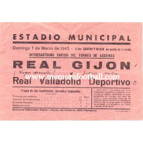 Real Gijón vs Real Valladolid 1943, pamphlet