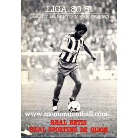 Sporting de Gijón vs Real Betis 1980 programa oficial