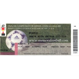 Spanish FA Cup 1999 Final ticket. Atlético de Madrid v Valencia
