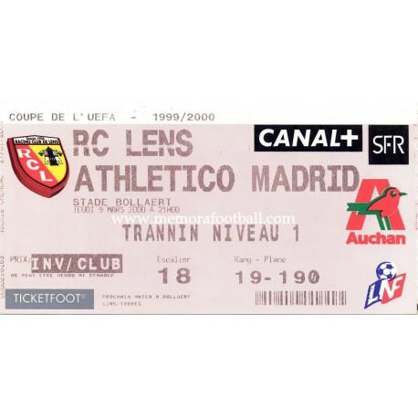 RC Lens vs Atlético de Madrid UEFA 09/03/2000