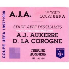 Entrada AJ Auxerre vs Deportivo de la Coruña Copa de la UEFA 1997-98